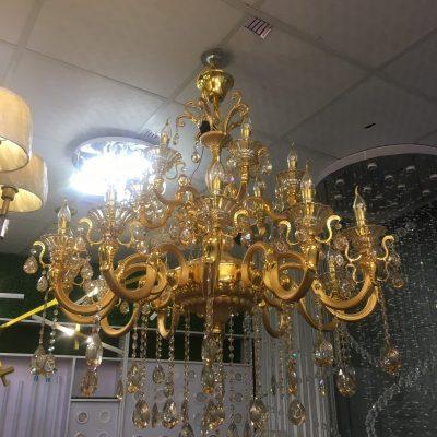 Đèn Chùm Nến Vàng Kim Pha Lê 18 Tay (06312+6)
