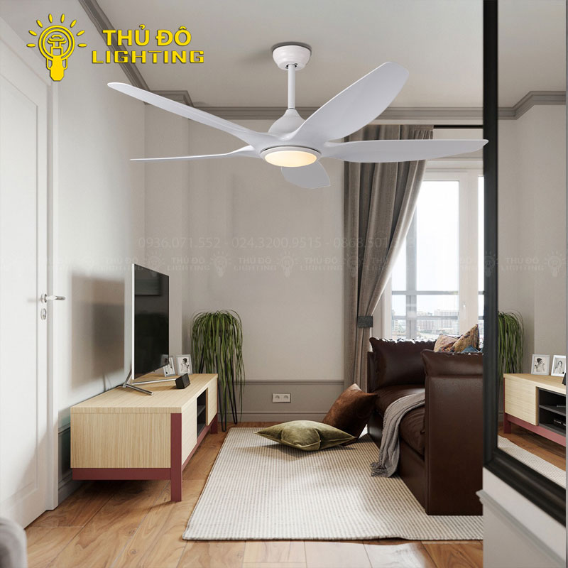 Quạt trần đèn trắng 52KJ-1309WH phù hợp lắp đặt ở những không gian nội thất nào?